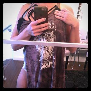 Gorgeous back tie up short vintage salvage dress